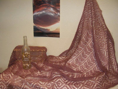 Oud rose shawls,handgebreide stola.