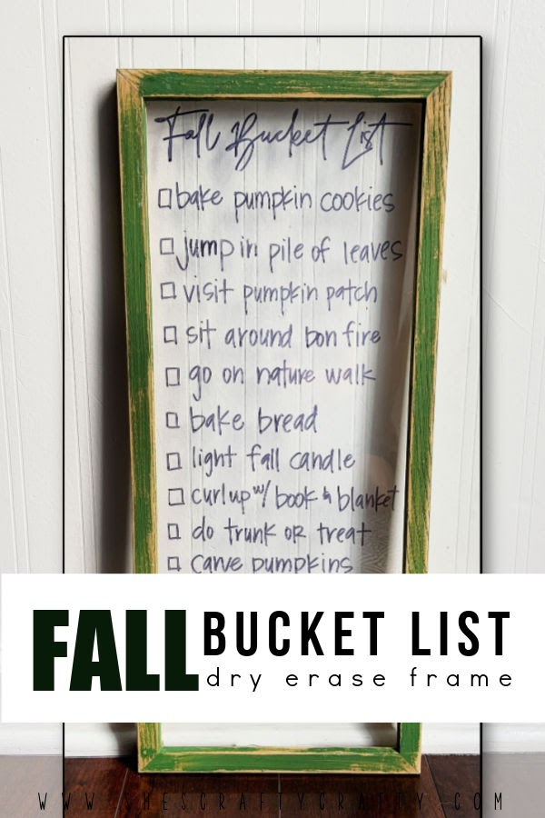 Fall Bucket List on Dry Erase Frame