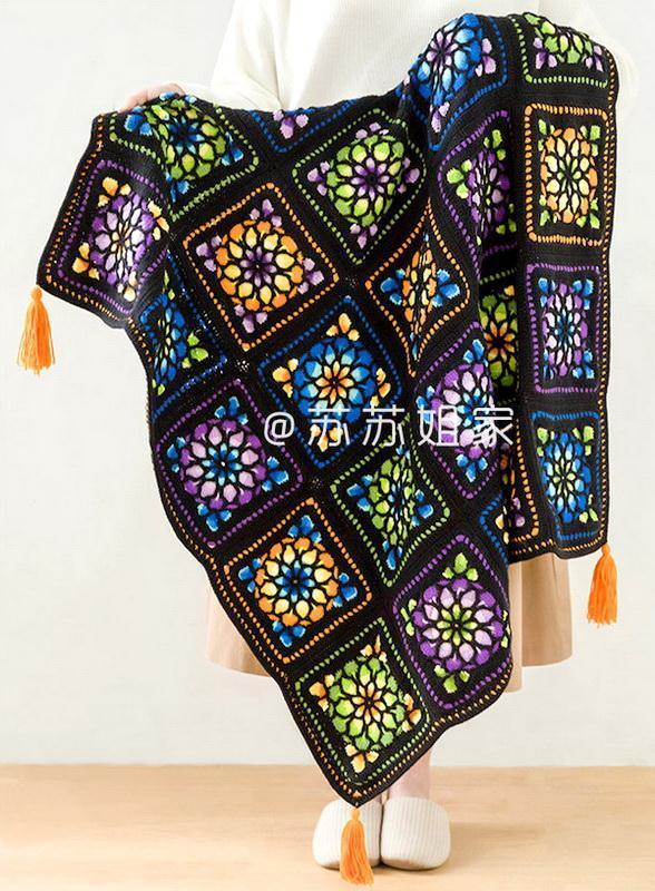 Crochet Blanket Pattern - Inlaid Rose Window Mosaic Blanket - Tutorial videos