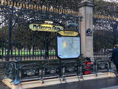 Art nouveau design of Tuileries métro station entrance