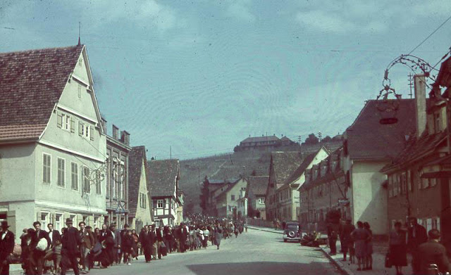Deportation of Sinti from southwest Germany, May 22, 1940. The Sinti were escorted by foot through the village under police surveillance.