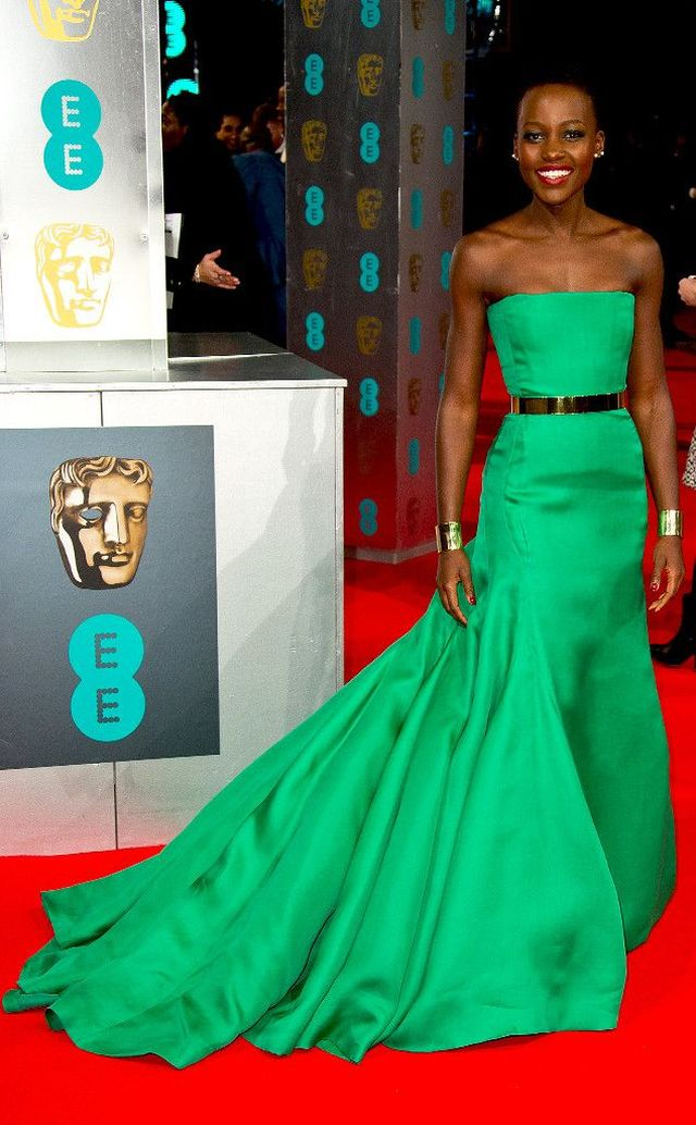 Lupita Nyong'o in an emerald Christian Dior Haute Couture gown at the BAFTA 2014
