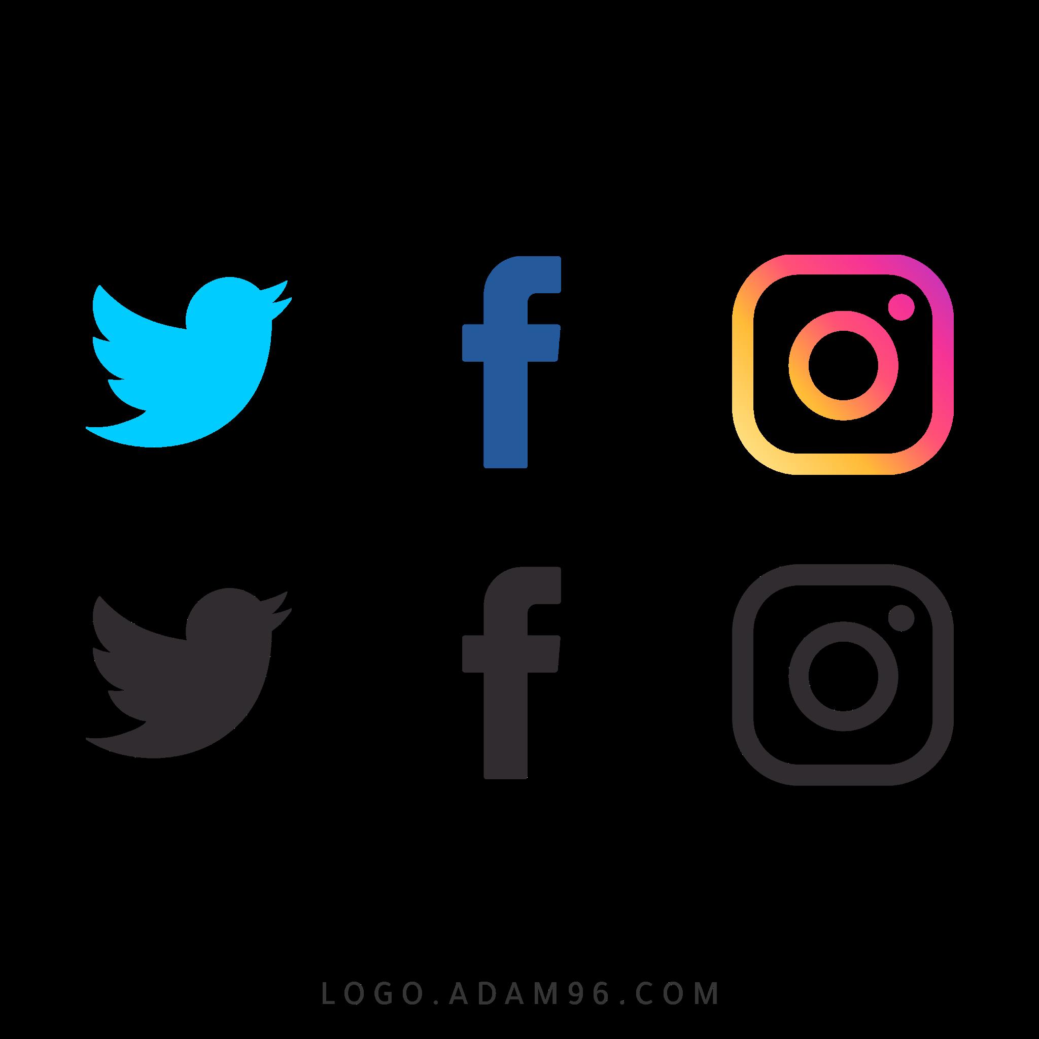 تحميل ايقونات مواقع التواصل الاجتماعي لوجو فيس بوك تويتر انستغرام PNG