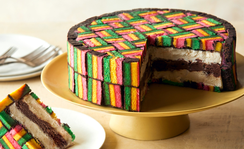 Italian Rainbow Cookie Ice Cream Cake