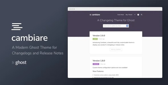 Changelogs and Release Notes Theme