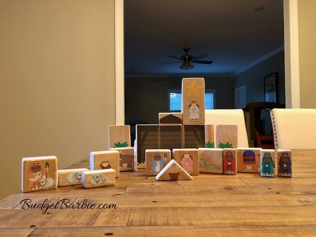 homemade wooden nativity set for toddlers for Christmas with baby jesus, stable and more
