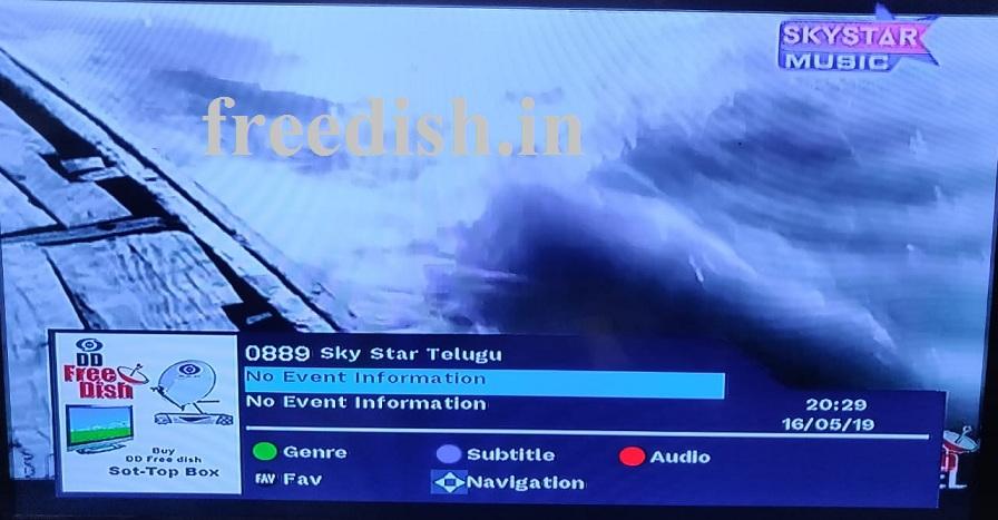 Skystar Telegu Channel added on LCN 889 on DD Freedish's MPEG-4 Slot