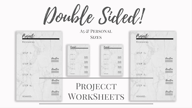 FREE Double Sided Project Worksheet Inserts for A5 & Personal Planners www.MalenaHaas.com