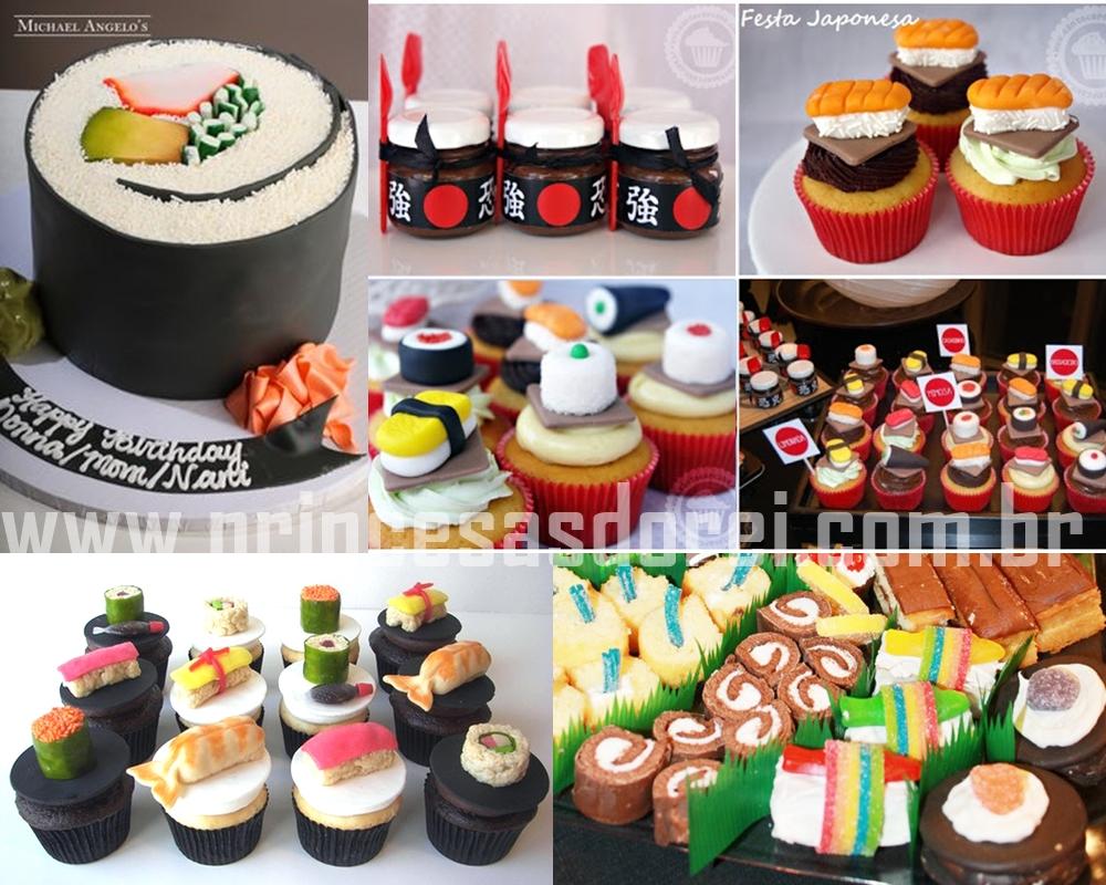 sushi festa party cake bolo de sushi cupcake