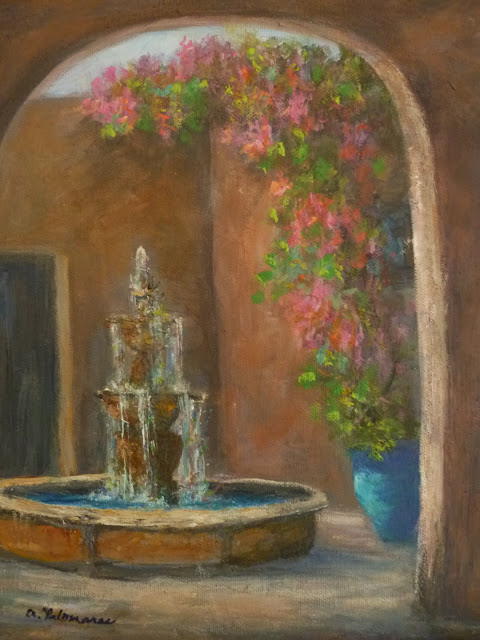 Tuscan Decor Painting of a Courtyard with a fountain and flowers