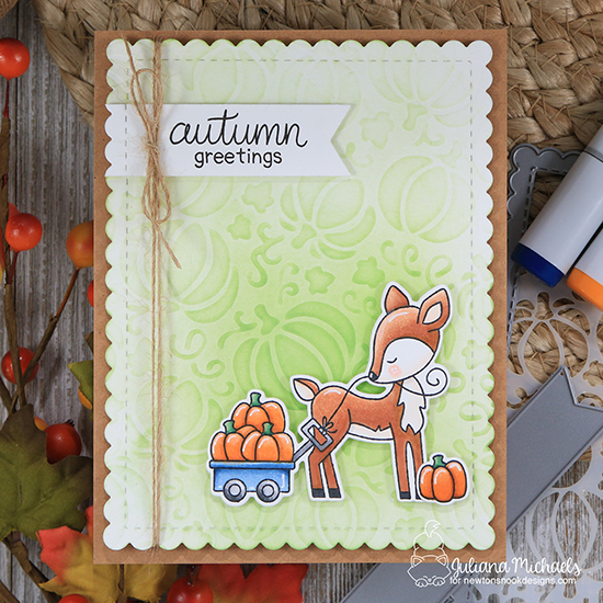 Fall woodland deer card by Juliana Michaels | Harvest Tails Stamp Set and Pumpkin Patch Stencil by Newton's Nook Designs #netwonsnook #handmade