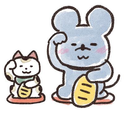 招き猫とネズミのイラスト(子年)
