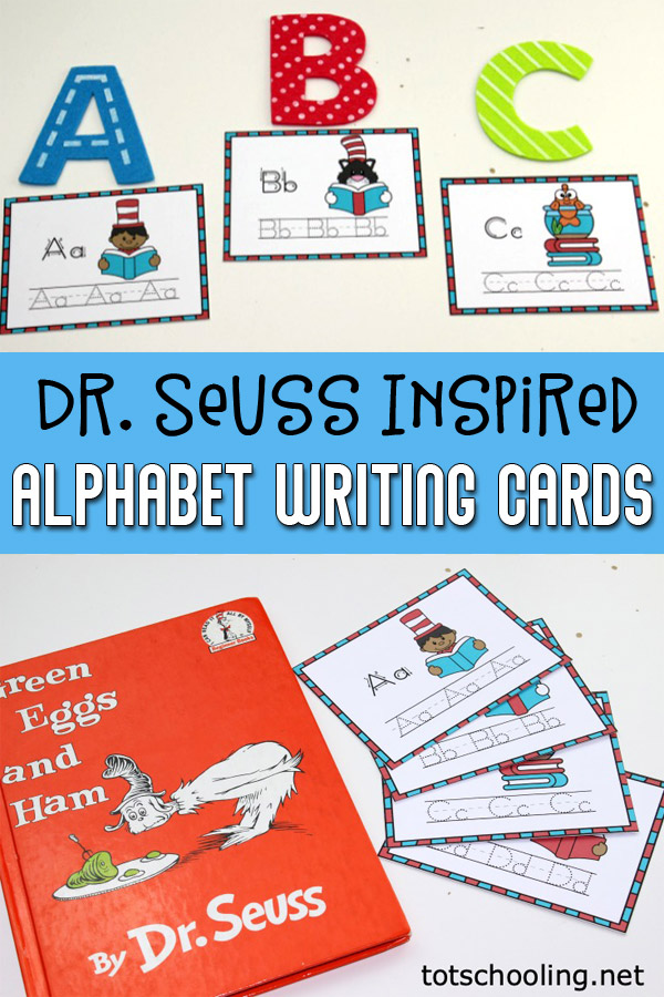 FREE printable Seuss-themed ABC cards for prek and kindergarten kids to practice handwriting skills in a fun way. Perfect literacy activity for Read Across America Day!