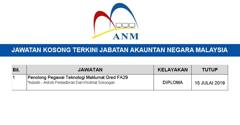 Kekosongan Jawatan Terkini Di Jabatan Akauntan Negara Malaysia Penolong Pegawai Teknologi Maklumat Gred Fa29 Semakjawatan Com Jawatan Kosong Terkini