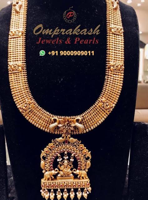 Peacock Lakshmi Haram by Omprakash Jewels