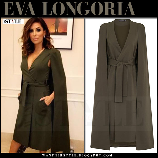 Eva Longoria in khaki green belted cape blazer dress lavish alice what she wore instagram