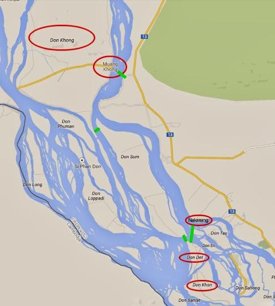 Mapa de las 4000 islas del Mekong (Si Phan Don, Laos)
