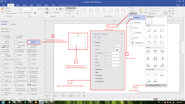 Cara settings External Entity Visio 2017