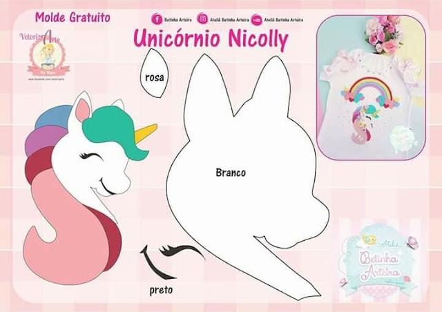 Aplique De Unicornio Com Moldes Para Imprimir Como Fazer