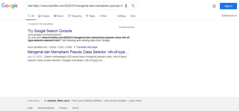 Gambar cara mengetahui artikel blog sudah terindex google atau belum