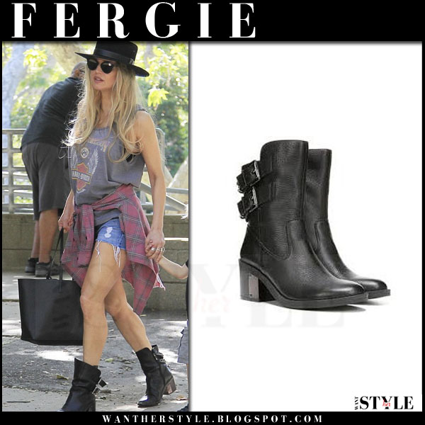 Fergie in black leather fergie wistful ankle boots with black saint laurent tote what she wore streetstyle