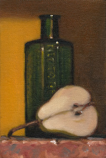 Still life oil painting of half a pear beside a green glass poison bottle.