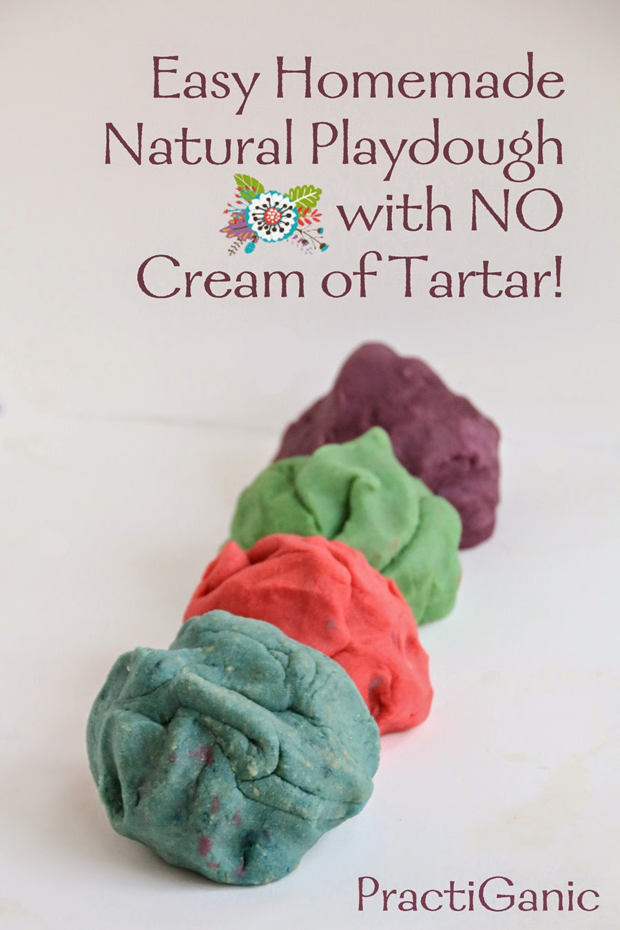 5 Minute Homemade Playdough Without Cream Of Tartar Practiganic