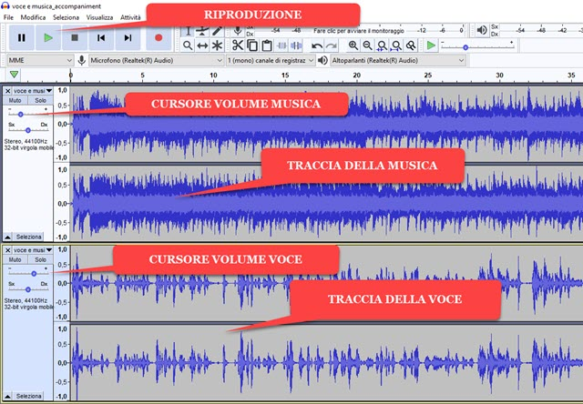 mixare file audio con audacity