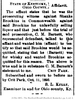 23 Oct 1895 clipping from The Ohio County News (Hartford, Kentucky), pg. 3, col. 4.