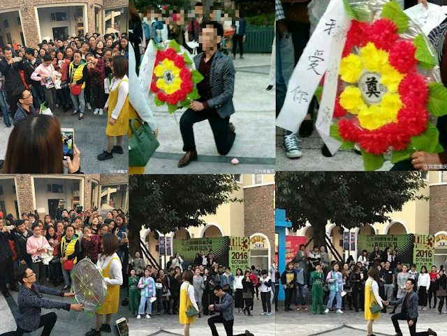 Chinese Mans Gets Rejected After Proposing With Funeral Flower Bouquet!