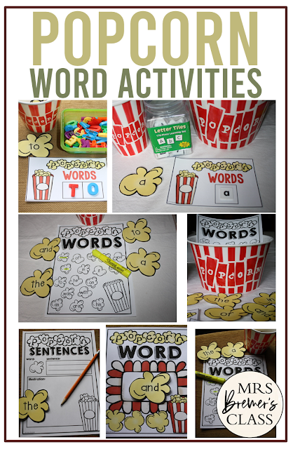 Popcorn Words activities to practice sight word learning in Kindergarten and First Grade. Use during Daily 5, word work activities, literacy centers, and more.
