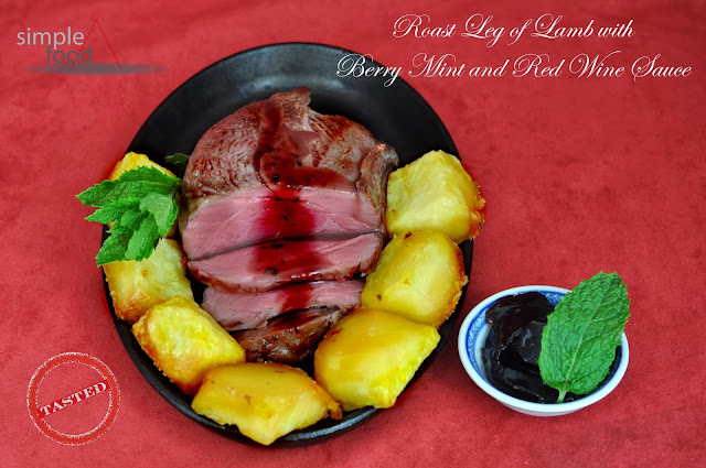 Roast Leg of Lamb with Berry Mint and Red Wine Sauce ~ Simple Food