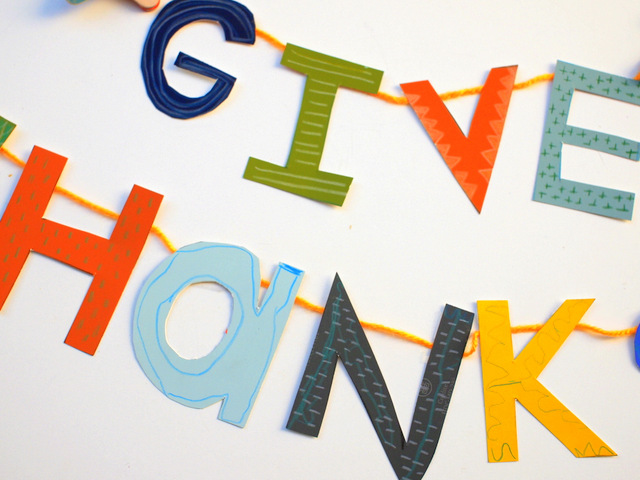 Paint Chip letters decorated with colored pencils