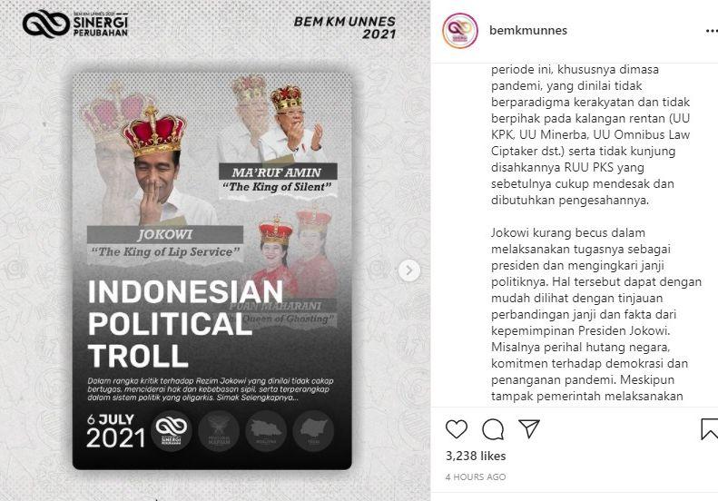 Tak Hanya ke Jokowi, BEM Unnes Juga Berikan 'Gelar Spesial' ke Ma'ruf Amin dan Puan Maharani