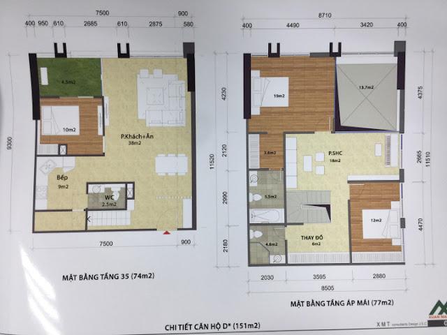 Thiết kế căn hộ 151m2 loại D penthouse toà CT1 Eco green city