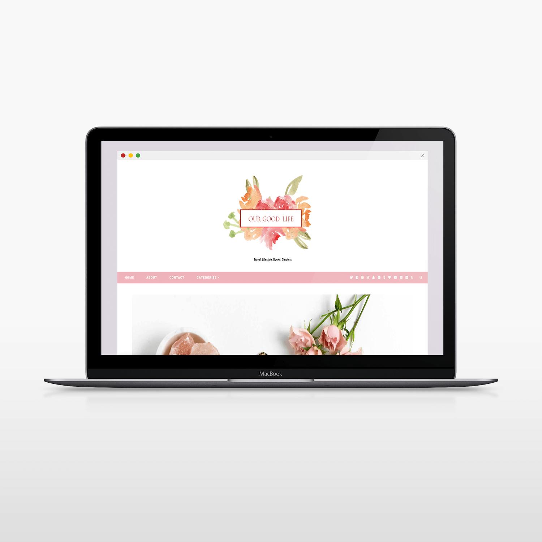 feminine land floral logo design