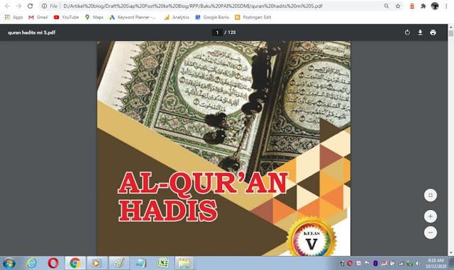 Buku Al-Qur'an Hadis kelas 5 sd/mi sesuai kma 183 tahun 2019