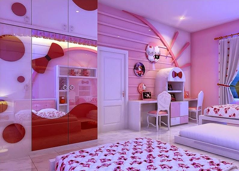 Desain Kamar Tidur Hello Kitty Sederhana