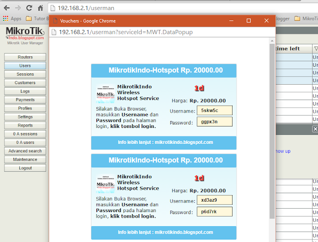 Cara Membuat Voucher Hotspot Mikrotik via User Manager