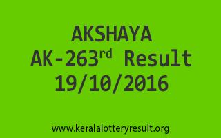 AKSHAYA AK 263 Lottery Results 19-10-2016