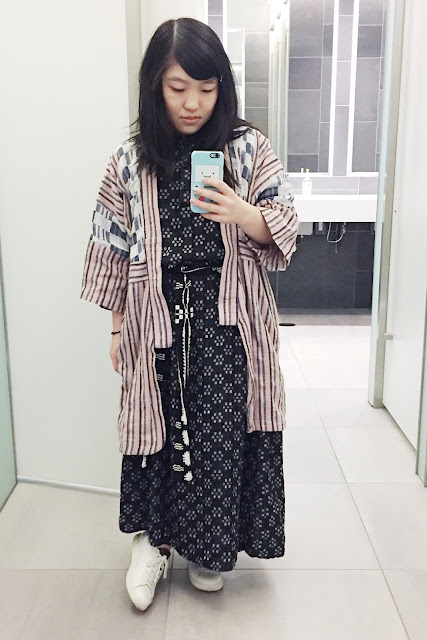 Wearing: Ace & Jig Kimono in Hawthorn, S (SS '16)  Ace & Jig Margaret Dress in Kasuri, M (Ace & Jig Webstore Exclusive) Ace & Jig Coverlet Belt from either a duster or Harbor dress Zespa Low-Top Sneakers