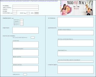 Planilla del cuestionario inicial del entrenamiento personalizado de 1000FITMEALS