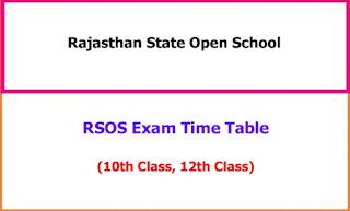 RSOS 10th, 12th Exam Time Table 2021