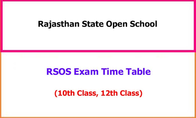 RSOS 10th, 12th Exam Time Table