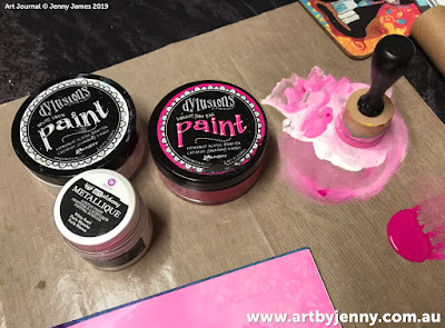 paints used for the art journal page by Jenny James - golden hearts with pink and purple