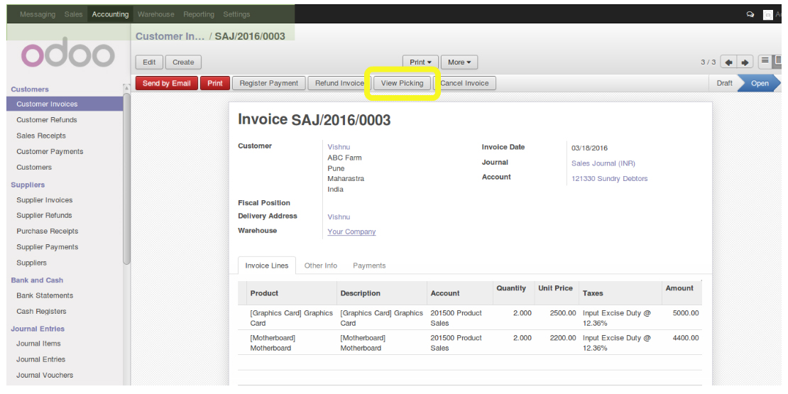 Pragmatic Blog  Odoo  Customized Module Invoice Picking Directly