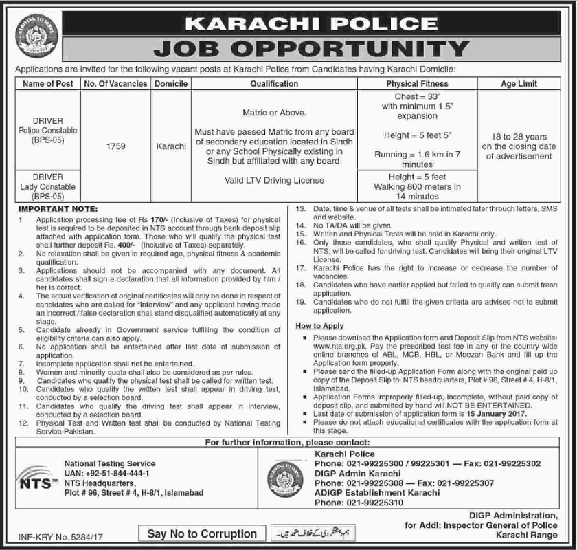 Jobs in Karachi, Jobs in Sindh Police, Jobs in Police Department, Matric Jobs, Police Constable Jobs 2017,Nts Police Jobs