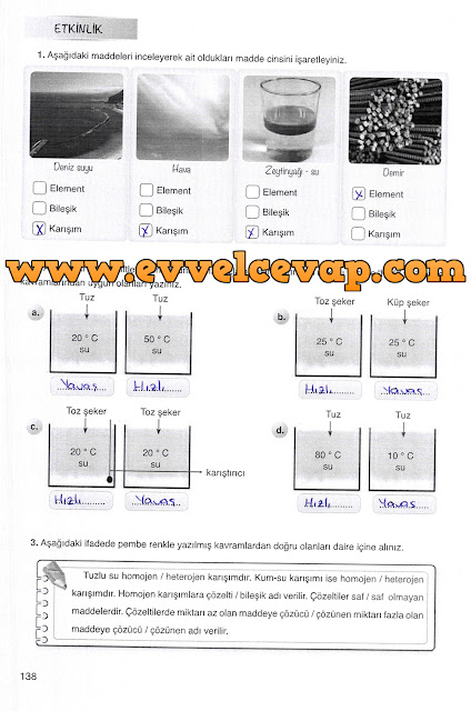 7. Sınıf Mevsim Yayınları Fen Bilimleri Ders Kitabı 138. Sayfa Cevapları Karışımlar