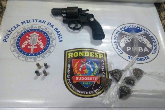 Anagé: Homem é preso por porte ilegal de arma e suspeita de tráfico de drogas