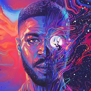 Abstract painting of Cudi's face with half showing a man falling around the moon